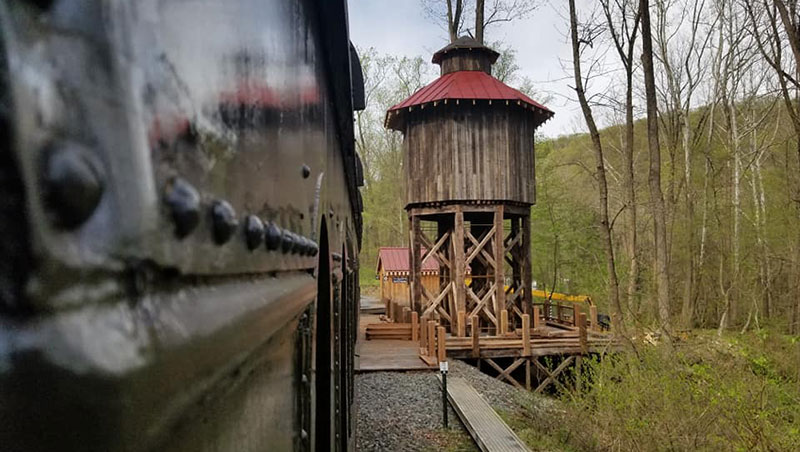 Colebrookdale Railroad passing wooden tower